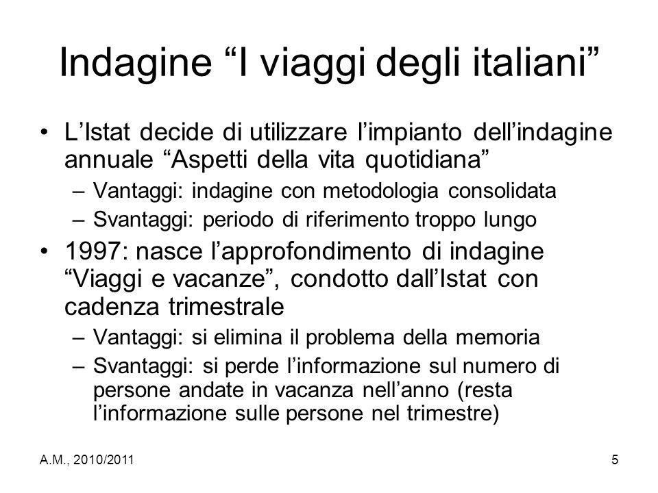 """A.M., 2010/20115 Indagine """"I viaggi degli italiani"""" L'Istat decide di utilizzare l'impianto dell'indagine annuale """"Aspetti della vita quotidiana"""" –Van"""