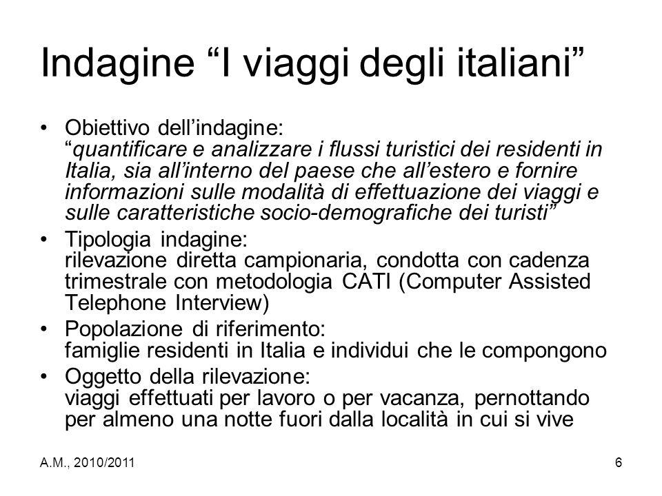 """A.M., 2010/20116 Indagine """"I viaggi degli italiani"""" Obiettivo dell'indagine: """"quantificare e analizzare i flussi turistici dei residenti in Italia, si"""