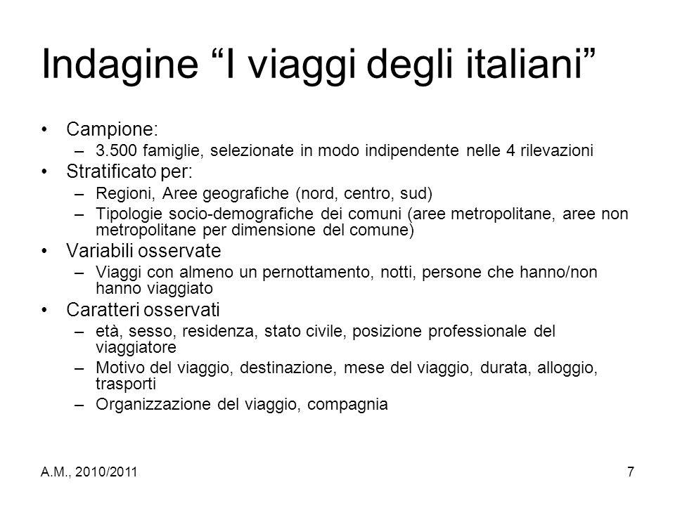 """A.M., 2010/20117 Indagine """"I viaggi degli italiani"""" Campione: –3.500 famiglie, selezionate in modo indipendente nelle 4 rilevazioni Stratificato per:"""