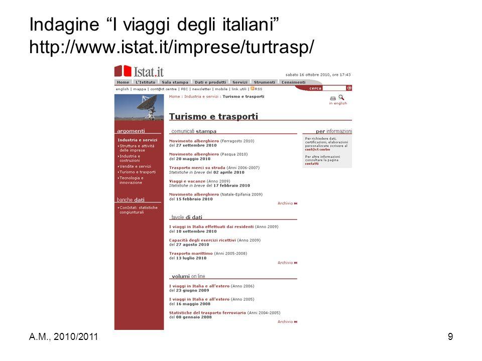 "A.M., 2010/20119 Indagine ""I viaggi degli italiani"" http://www.istat.it/imprese/turtrasp/"