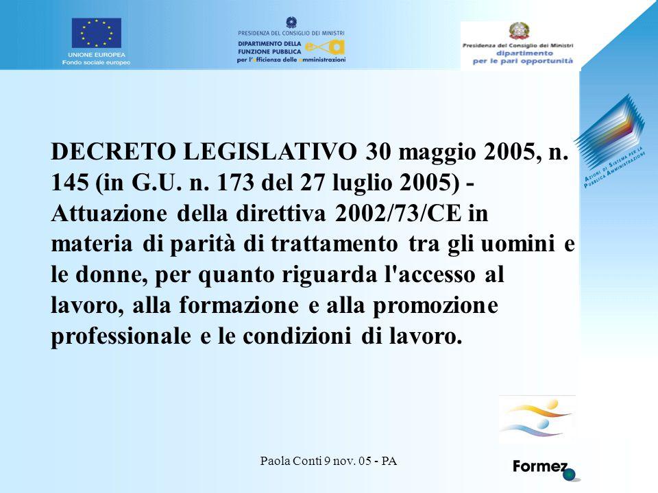 Paola Conti 9 nov.05 - PA DECRETO LEGISLATIVO 30 maggio 2005, n.