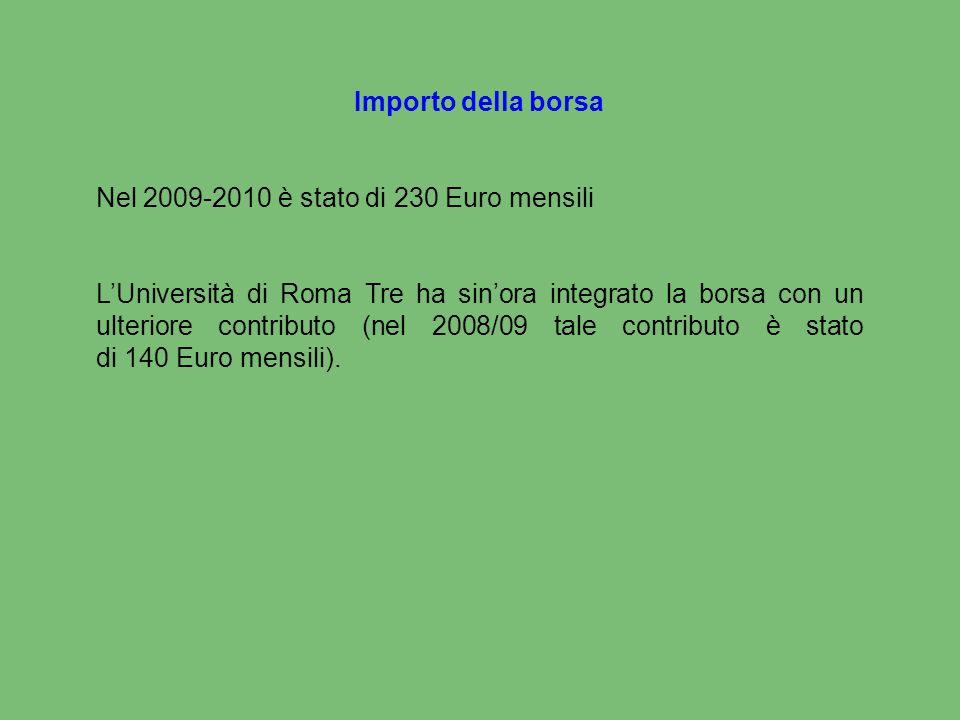 Importo della borsa Nel 2009-2010 è stato di 230 Euro mensili L'Università di Roma Tre ha sin'ora integrato la borsa con un ulteriore contributo (nel