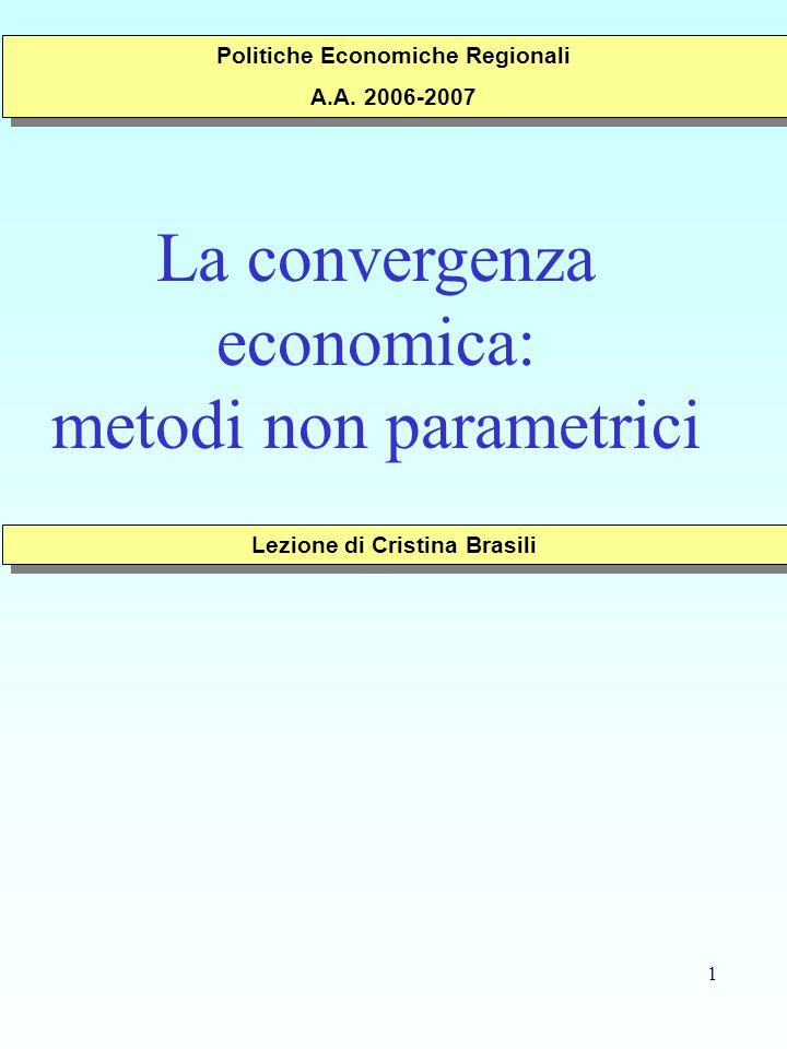 1 La convergenza economica: metodi non parametrici Lezione di Cristina Brasili Politiche Economiche Regionali A.A.