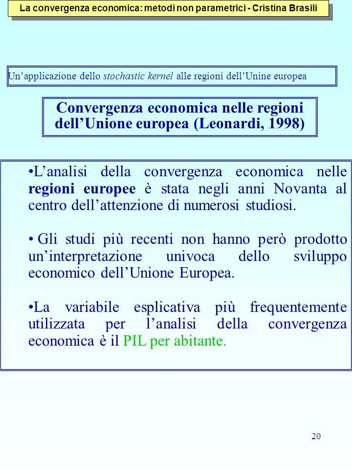 20 Convergenza economica nelle regioni dell'Unione europea (Leonardi, 1998) L'analisi della convergenza economica nelle regioni europee è stata negli anni Novanta al centro dell'attenzione di numerosi studiosi.