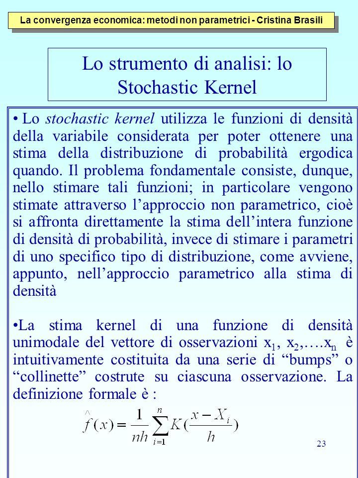 23 Lo stochastic kernel utilizza le funzioni di densità della variabile considerata per poter ottenere una stima della distribuzione di probabilità ergodica quando.