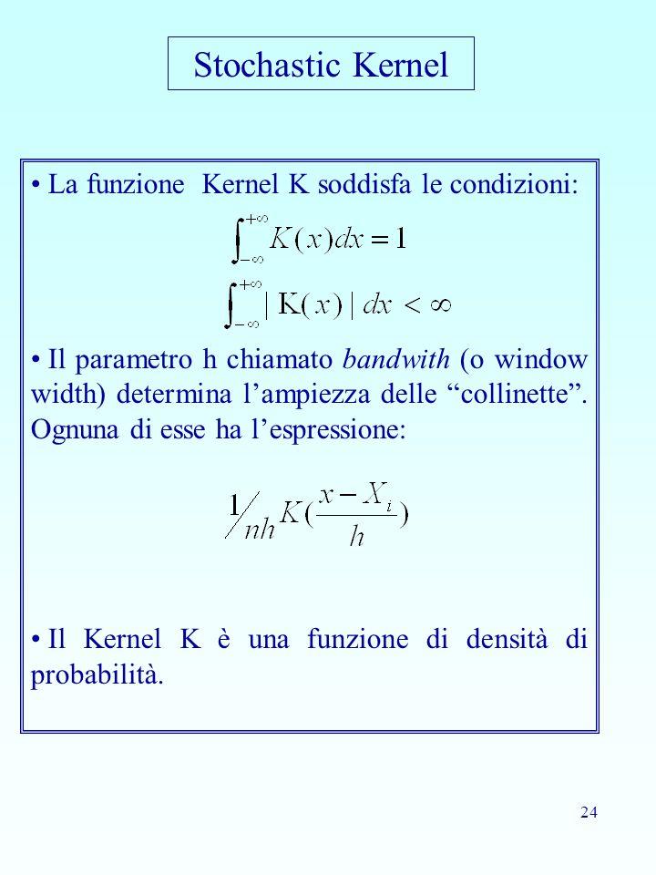 24 La funzione Kernel K soddisfa le condizioni: Il parametro h chiamato bandwith (o window width) determina l'ampiezza delle collinette .