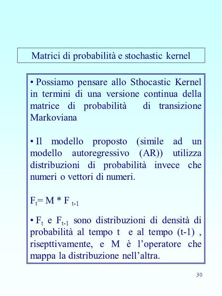 30 Possiamo pensare allo Sthocastic Kernel in termini di una versione continua della matrice di probabilità di transizione Markoviana Il modello proposto (simile ad un modello autoregressivo (AR)) utilizza distribuzioni di probabilità invece che numeri o vettori di numeri.