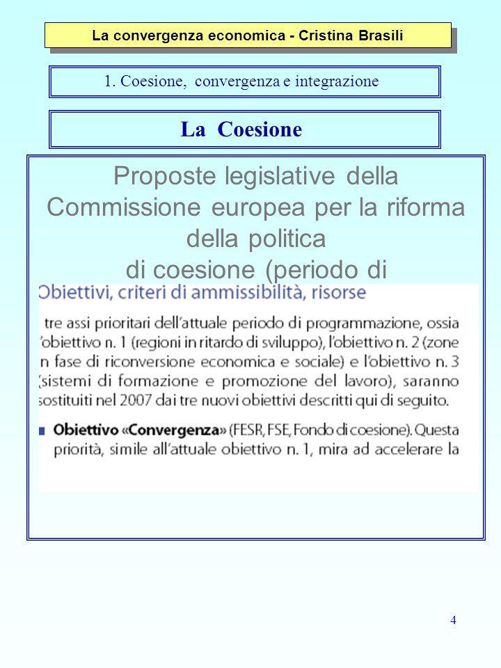 4 Proposte legislative della Commissione europea per la riforma della politica di coesione (periodo di programmazione 2007-2013) La Coesione La convergenza economica - Cristina Brasili 1.