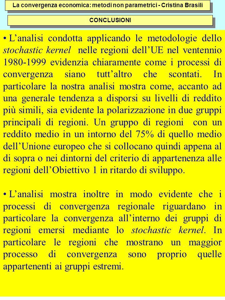 43 La convergenza economica: metodi non parametrici - Cristina Brasili L'analisi condotta applicando le metodologie dello stochastic kernel nelle regioni dell'UE nel ventennio 1980-1999 evidenzia chiaramente come i processi di convergenza siano tutt'altro che scontati.