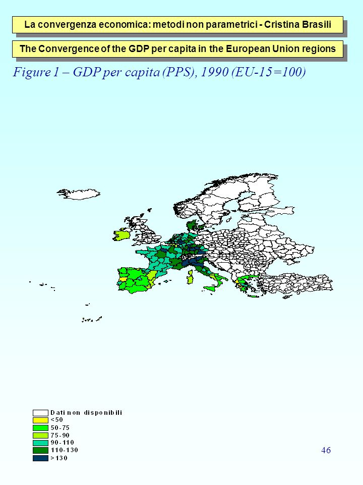 46 La convergenza economica: metodi non parametrici - Cristina Brasili The Convergence of the GDP per capita in the European Union regions Figure 1 – GDP per capita (PPS), 1990 (EU-15=100)