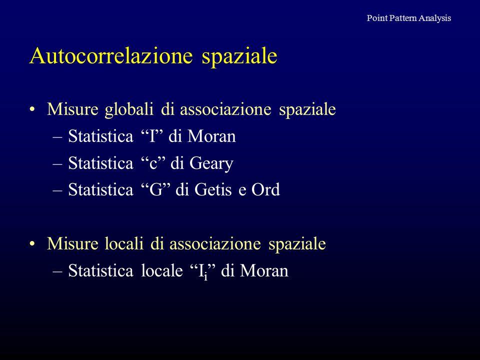 """Autocorrelazione spaziale Misure globali di associazione spaziale –Statistica """"I"""" di Moran –Statistica """"c"""" di Geary –Statistica """"G"""" di Getis e Ord Mis"""