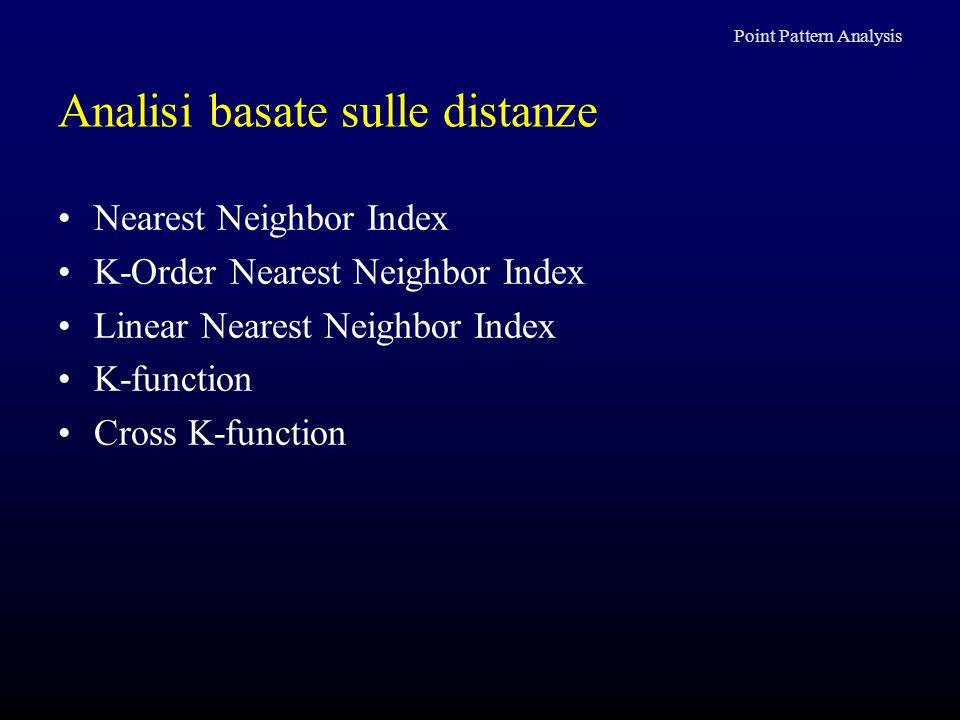 Analisi basate sulle distanze Nearest Neighbor Index K-Order Nearest Neighbor Index Linear Nearest Neighbor Index K-function Cross K-function Point Pa