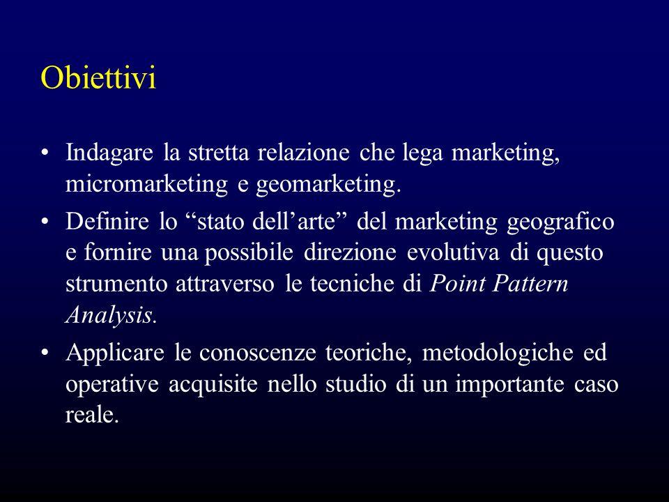 """Obiettivi Indagare la stretta relazione che lega marketing, micromarketing e geomarketing. Definire lo """"stato dell'arte"""" del marketing geografico e fo"""
