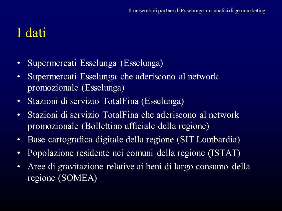 I dati Supermercati Esselunga (Esselunga) Supermercati Esselunga che aderiscono al network promozionale (Esselunga) Stazioni di servizio TotalFina (Es