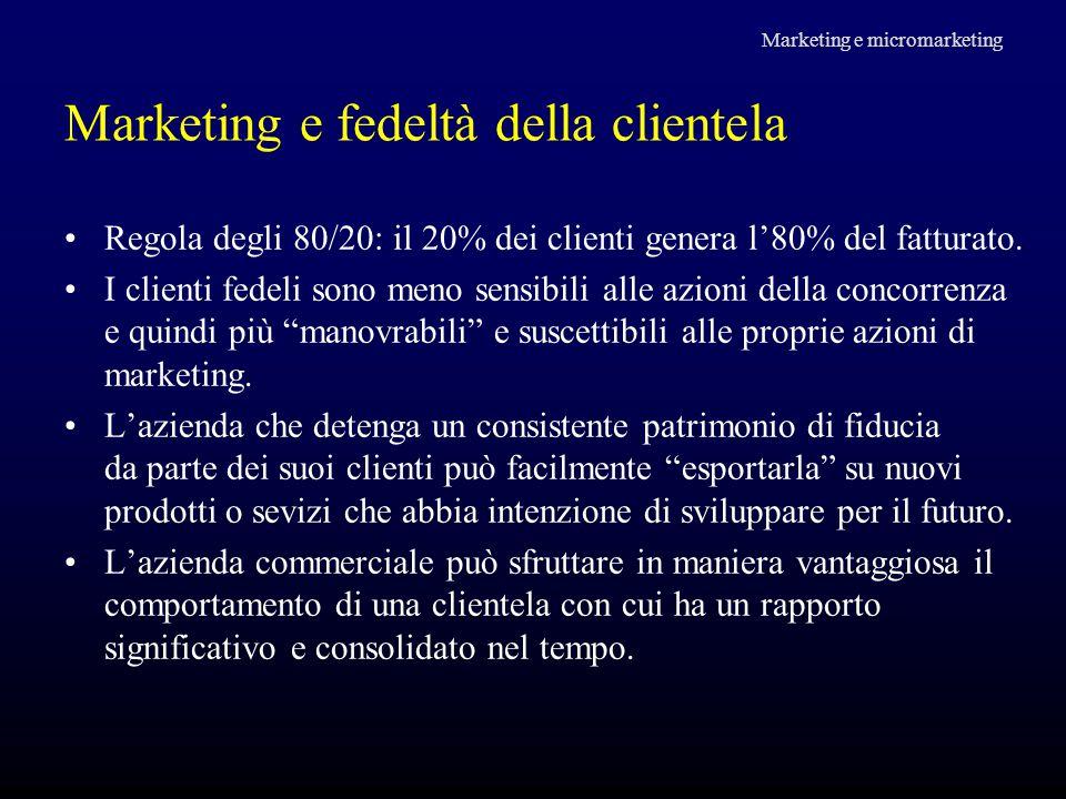 Marketing e fedeltà della clientela Regola degli 80/20: il 20% dei clienti genera l'80% del fatturato. I clienti fedeli sono meno sensibili alle azion