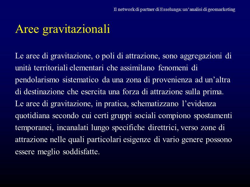 Aree gravitazionali Le aree di gravitazione, o poli di attrazione, sono aggregazioni di unità territoriali elementari che assimilano fenomeni di pendo