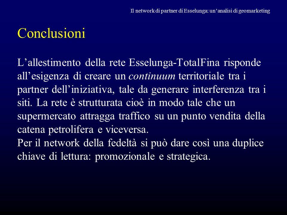 Conclusioni L'allestimento della rete Esselunga-TotalFina risponde all'esigenza di creare un continuum territoriale tra i partner dell'iniziativa, tal