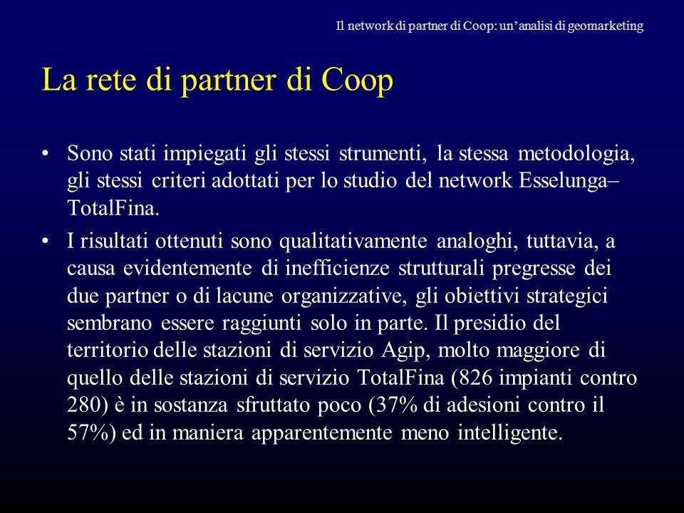 La rete di partner di Coop Il network di partner di Coop: un'analisi di geomarketing Sono stati impiegati gli stessi strumenti, la stessa metodologia,