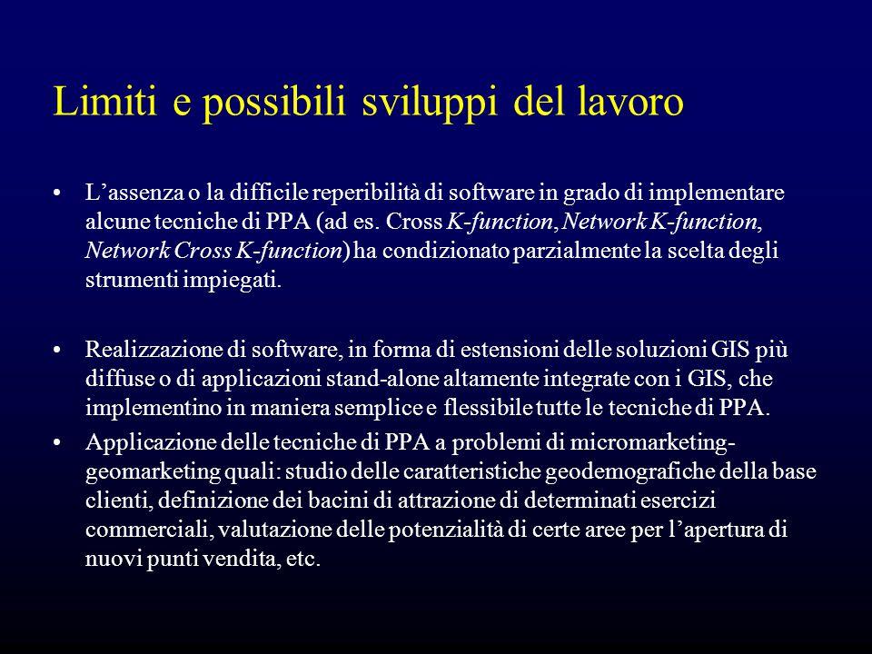 Limiti e possibili sviluppi del lavoro L'assenza o la difficile reperibilità di software in grado di implementare alcune tecniche di PPA (ad es. Cross