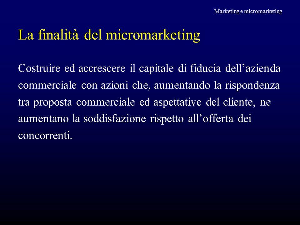 La finalità del micromarketing Costruire ed accrescere il capitale di fiducia dell'azienda commerciale con azioni che, aumentando la rispondenza tra p