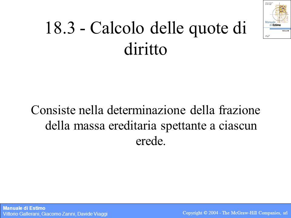 Manuale di Estimo Vittorio Gallerani, Giacomo Zanni, Davide Viaggi Copyright © 2004 - The McGraw-Hill Companies, srl 18.3 - Calcolo delle quote di dir