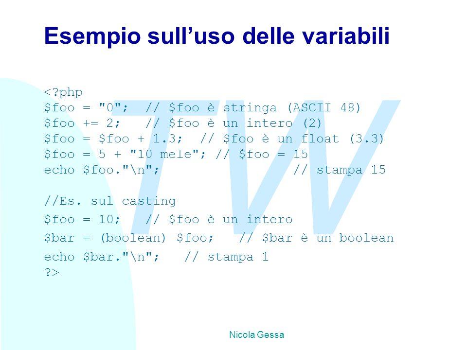 TW Nicola Gessa Esempio sull'uso delle variabili <?php $foo =