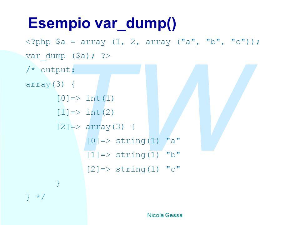 TW Nicola Gessa Esempio var_dump() <?php $a = array (1, 2, array (