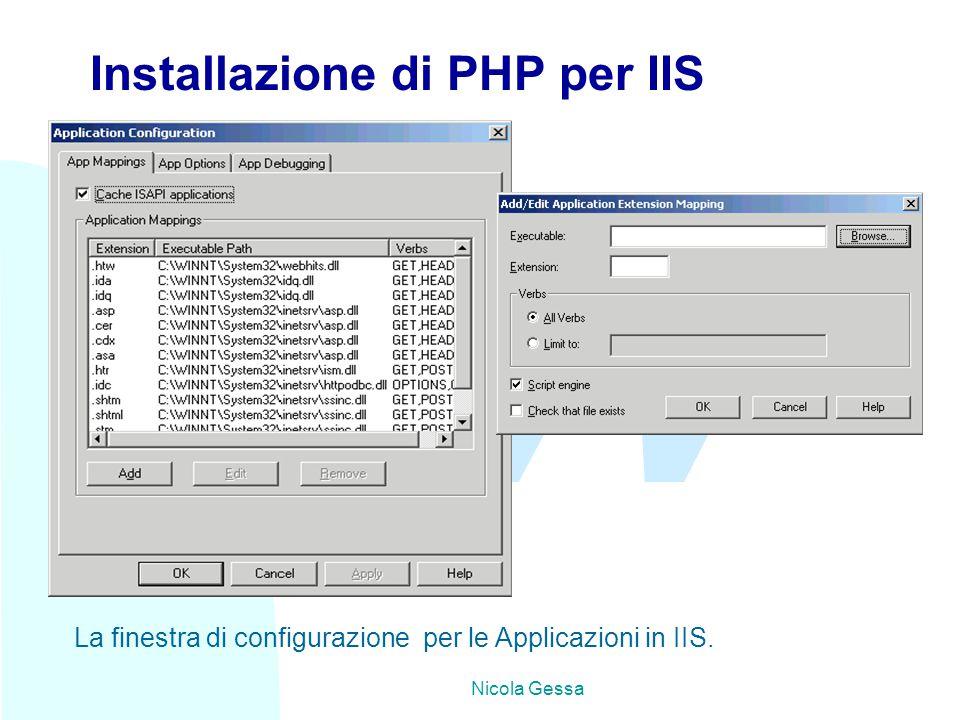 TW Nicola Gessa Installazione di PHP per IIS La finestra di configurazione per le Applicazioni in IIS.