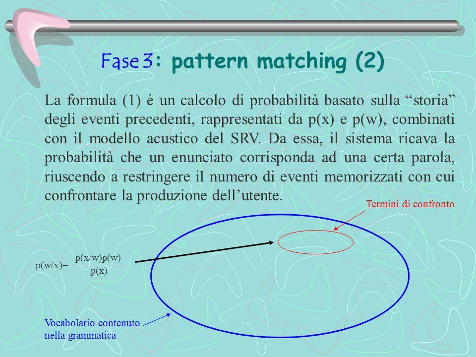 """Fase 3: pattern matching (2) La formula (1) è un calcolo di probabilità basato sulla """"storia"""" degli eventi precedenti, rappresentati da p(x) e p(w), c"""