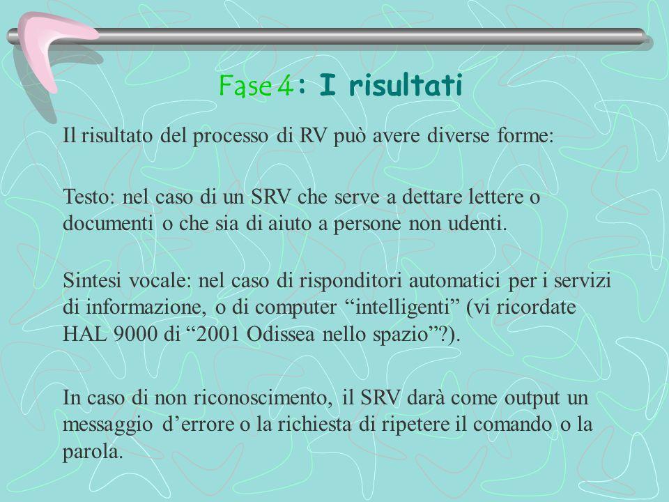 Fase 4: I risultati Il risultato del processo di RV può avere diverse forme: Testo: nel caso di un SRV che serve a dettare lettere o documenti o che sia di aiuto a persone non udenti.