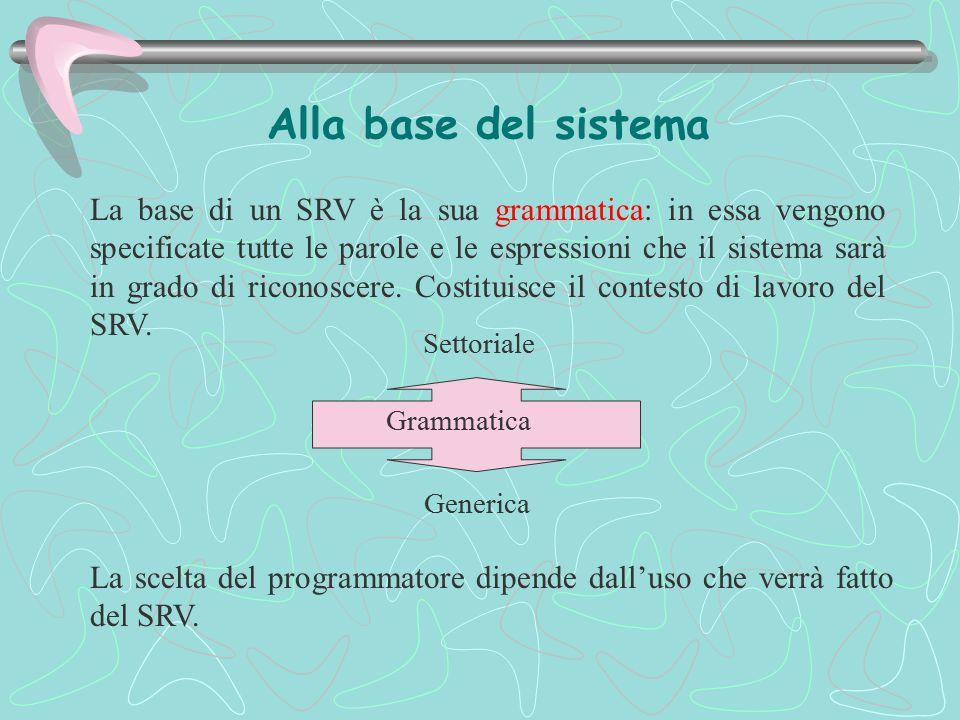 Alla base del sistema La base di un SRV è la sua grammatica: in essa vengono specificate tutte le parole e le espressioni che il sistema sarà in grado