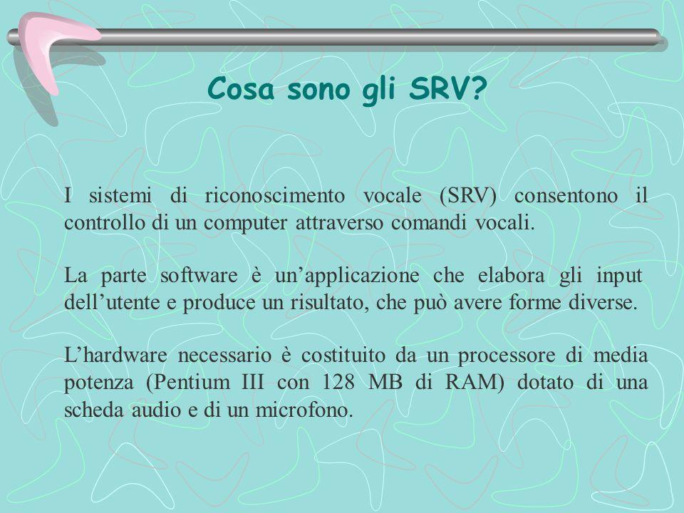 I sistemi di riconoscimento vocale (SRV) consentono il controllo di un computer attraverso comandi vocali. Cosa sono gli SRV? La parte software è un'a