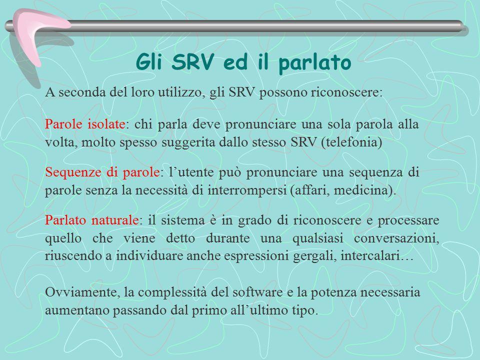 Gli SRV ed il parlato Parlato naturale: il sistema è in grado di riconoscere e processare quello che viene detto durante una qualsiasi conversazioni,