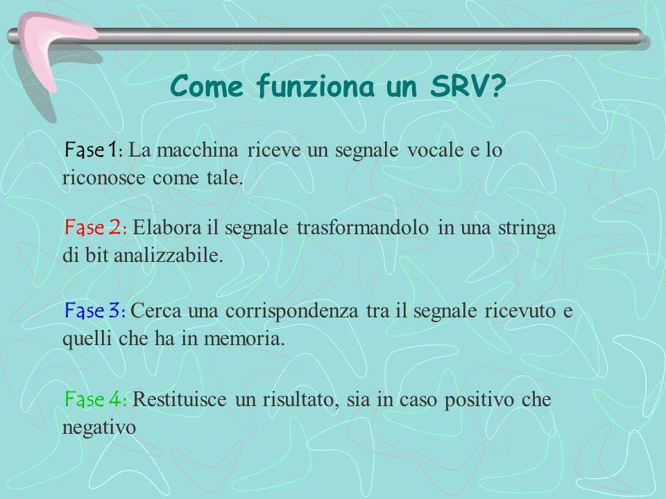 Come funziona un SRV? Fase 1: La macchina riceve un segnale vocale e lo riconosce come tale. Fase 2: Elabora il segnale trasformandolo in una stringa