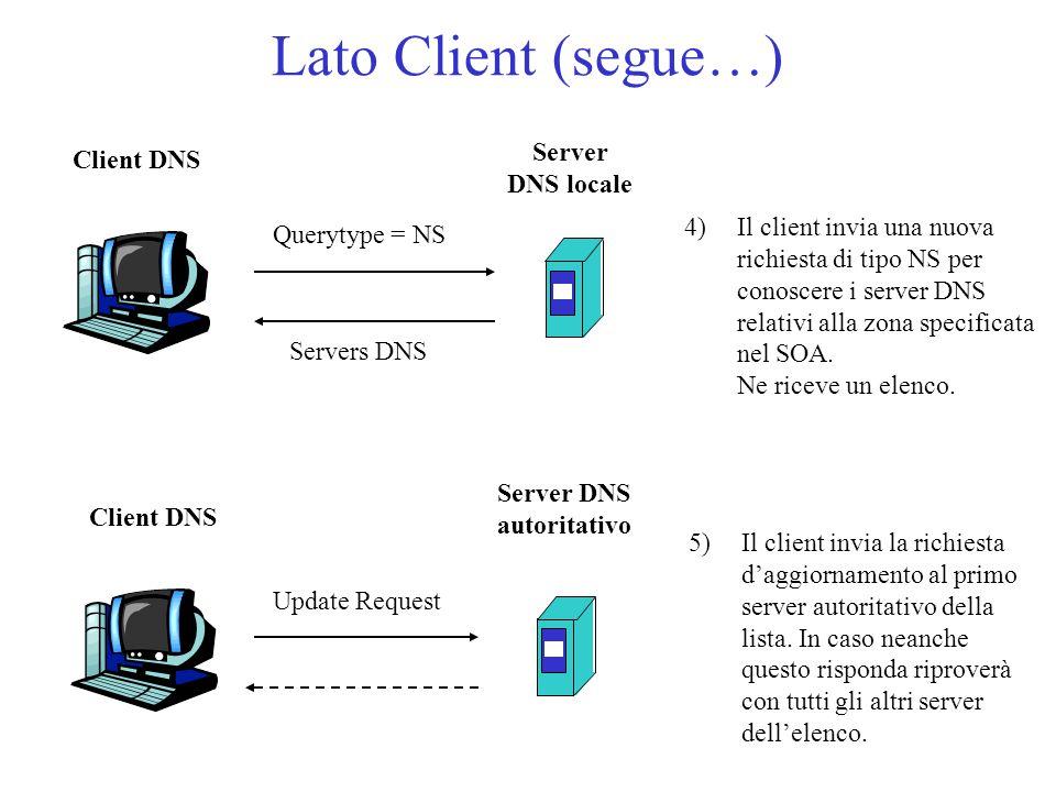 Lato Client (segue…) 4)Il client invia una nuova richiesta di tipo NS per conoscere i server DNS relativi alla zona specificata nel SOA. Ne riceve un