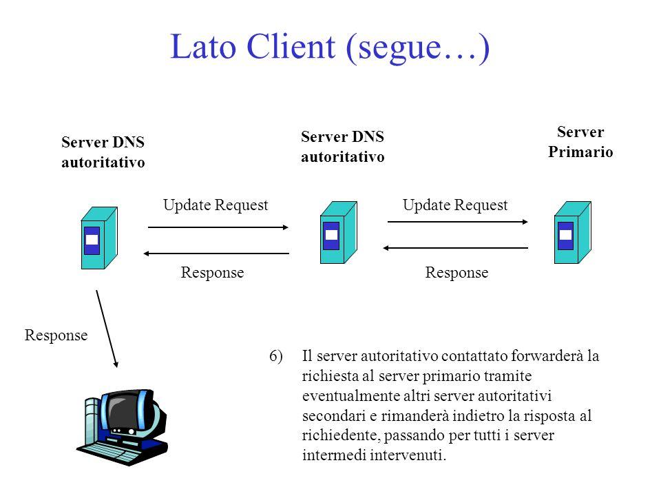 Lato Client (segue…) 6)Il server autoritativo contattato forwarderà la richiesta al server primario tramite eventualmente altri server autoritativi secondari e rimanderà indietro la risposta al richiedente, passando per tutti i server intermedi intervenuti.