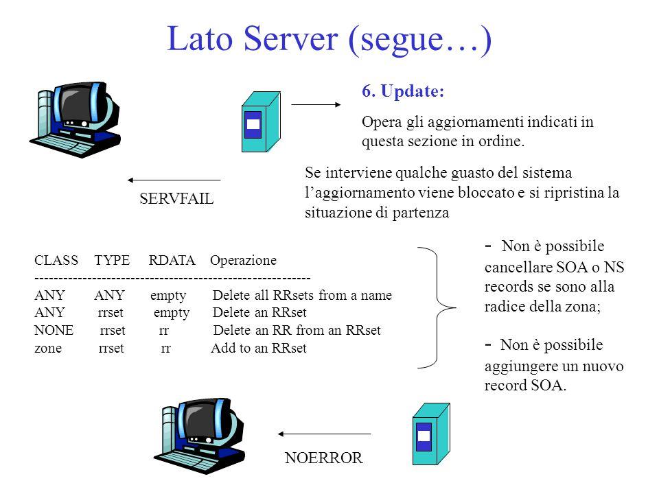 Lato Server (segue…) 6. Update: Opera gli aggiornamenti indicati in questa sezione in ordine. CLASS TYPE RDATA Operazione ----------------------------