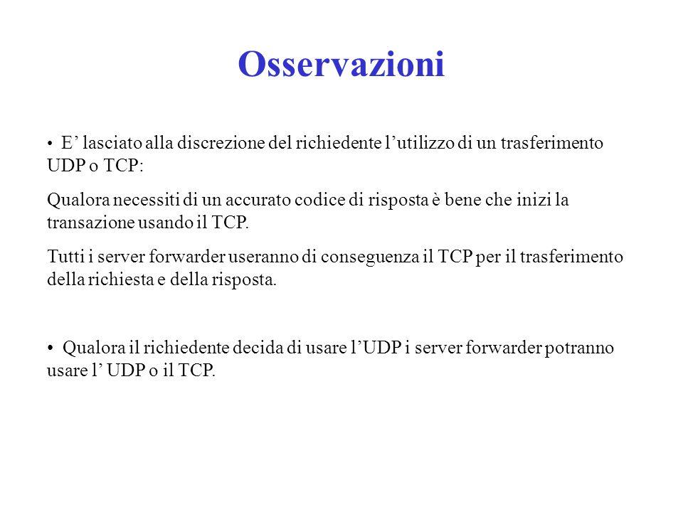 Osservazioni E' lasciato alla discrezione del richiedente l'utilizzo di un trasferimento UDP o TCP: Qualora necessiti di un accurato codice di risposta è bene che inizi la transazione usando il TCP.