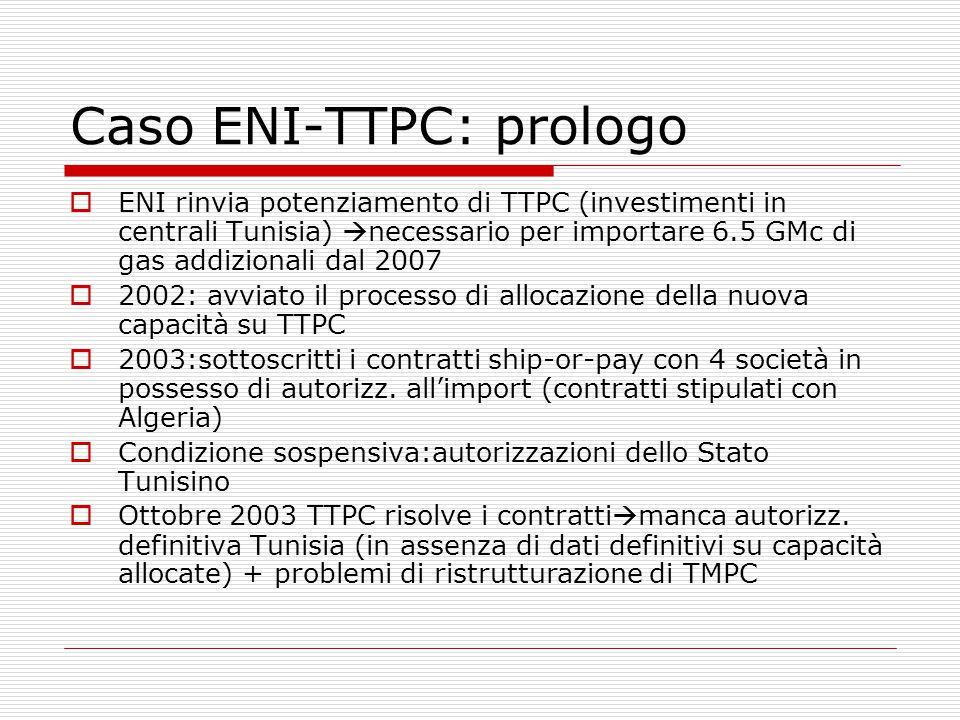 Caso ENI-TTPC: prologo  ENI rinvia potenziamento di TTPC (investimenti in centrali Tunisia)  necessario per importare 6.5 GMc di gas addizionali dal 2007  2002: avviato il processo di allocazione della nuova capacità su TTPC  2003:sottoscritti i contratti ship-or-pay con 4 società in possesso di autorizz.