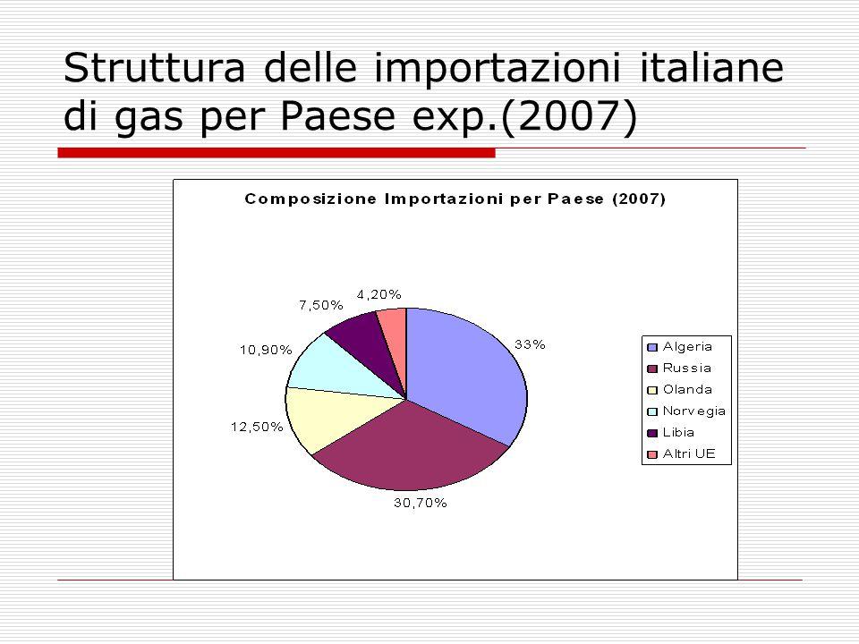Struttura delle importazioni italiane di gas per Paese exp.(2007)