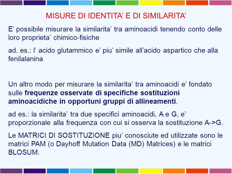 MISURE DI IDENTITA' E DI SIMILARITA' E' possibile misurare la similarita' tra aminoacidi tenendo conto delle loro proprieta' chimico-fisiche ad.