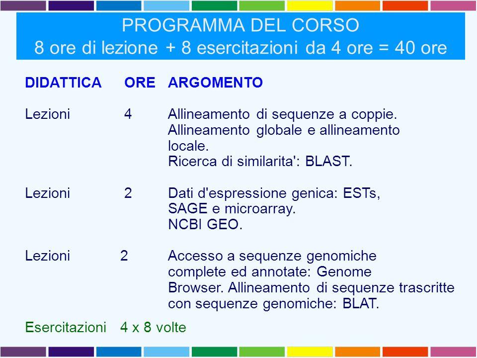 PROGRAMMA DEL CORSO 8 ore di lezione + 8 esercitazioni da 4 ore = 40 ore DIDATTICA ORE ARGOMENTO Lezioni 4 Allineamento di sequenze a coppie.