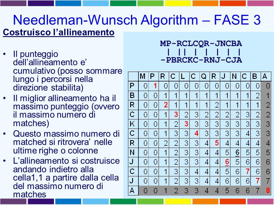 Needleman-Wunsch Algorithm – FASE 3 Costruisco l'allineamento Il punteggio dell'allineamento e' cumulativo (posso sommare lungo i percorsi nella direzione stabilita) Il miglior allineamento ha il massimo punteggio (ovvero il massimo numero di matches) Questo massimo numero di matched si ritrovera' nelle ultime righe o colonne L'allineamento si costruisce andando indietro alla cella1,1 a partire dalla cella del massimo numero di matches MP-RCLCQR-JNCBA | || | | | | | -PBRCKC-RNJ-CJA