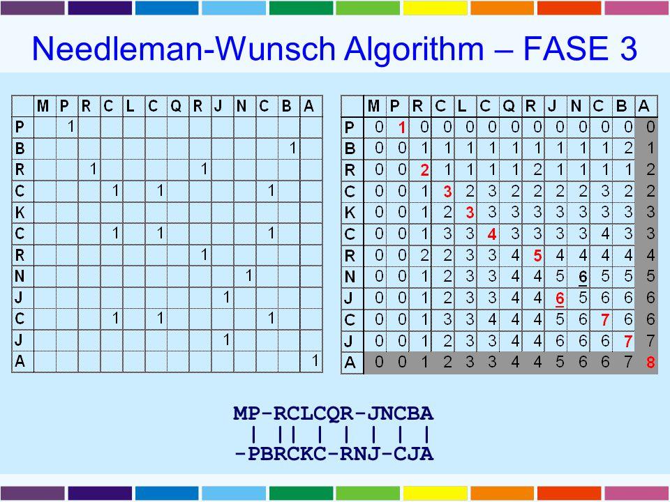 Needleman-Wunsch Algorithm – FASE 3 MP-RCLCQR-JNCBA | || | | | | | -PBRCKC-RNJ-CJA