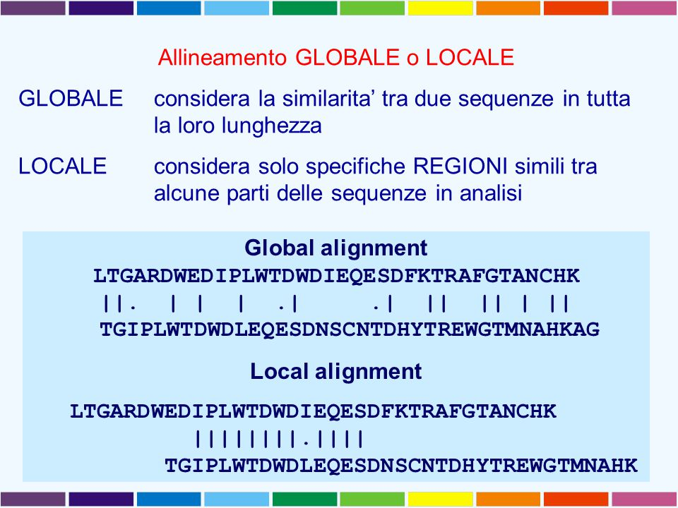 Allineamento GLOBALE o LOCALE GLOBALEconsidera la similarita' tra due sequenze in tutta la loro lunghezza LOCALE considera solo specifiche REGIONI simili tra alcune parti delle sequenze in analisi Global alignment LTGARDWEDIPLWTDWDIEQESDFKTRAFGTANCHK ||.