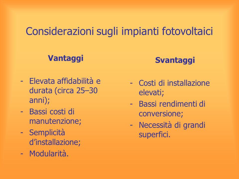 Considerazioni sugli impianti fotovoltaici Vantaggi -Elevata affidabilità e durata (circa 25–30 anni); -Bassi costi di manutenzione; -Semplicità d'ins