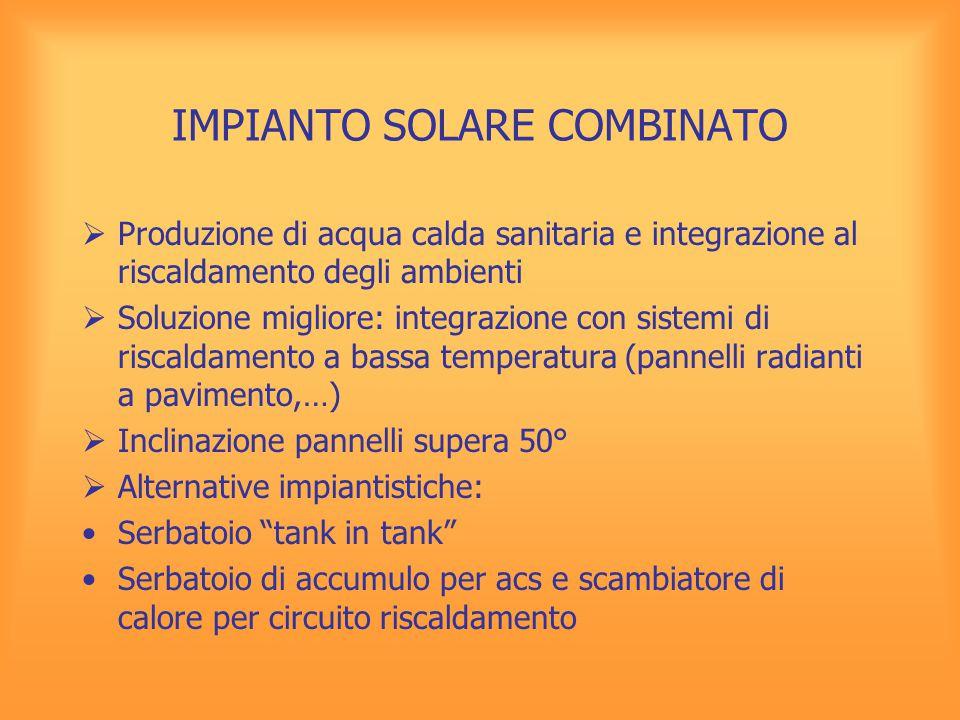 IMPIANTO SOLARE COMBINATO  Produzione di acqua calda sanitaria e integrazione al riscaldamento degli ambienti  Soluzione migliore: integrazione con