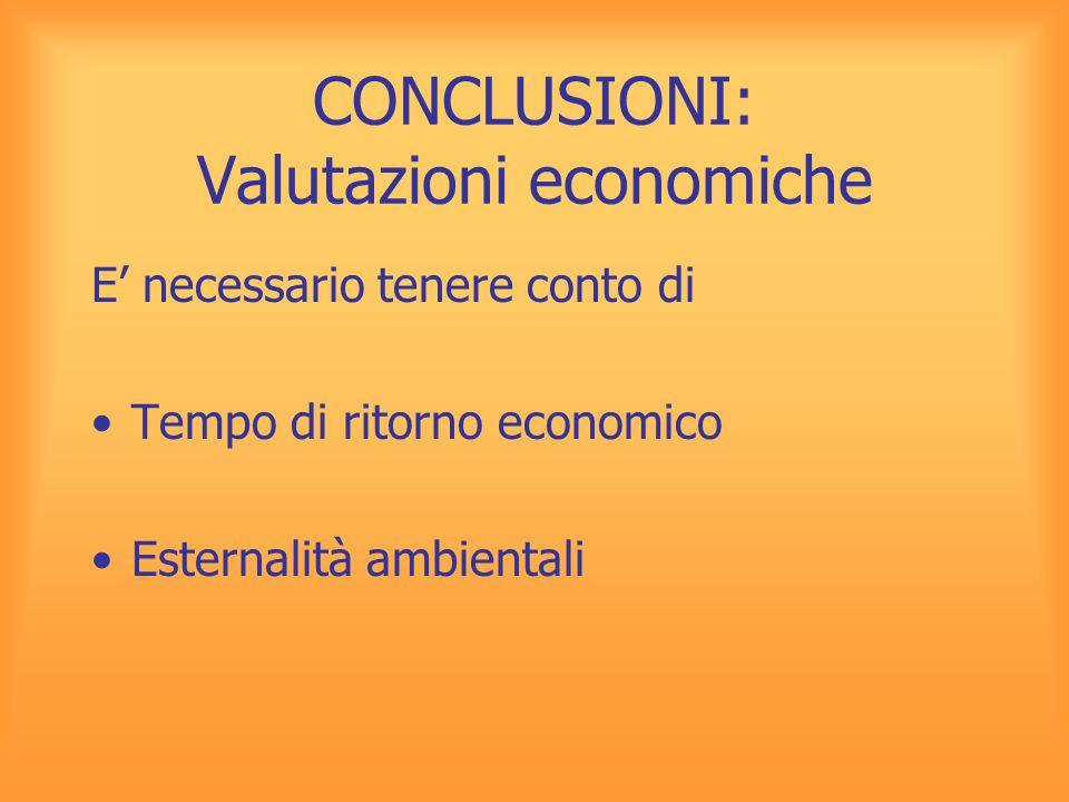 CONCLUSIONI: Valutazioni economiche E' necessario tenere conto di Tempo di ritorno economico Esternalità ambientali