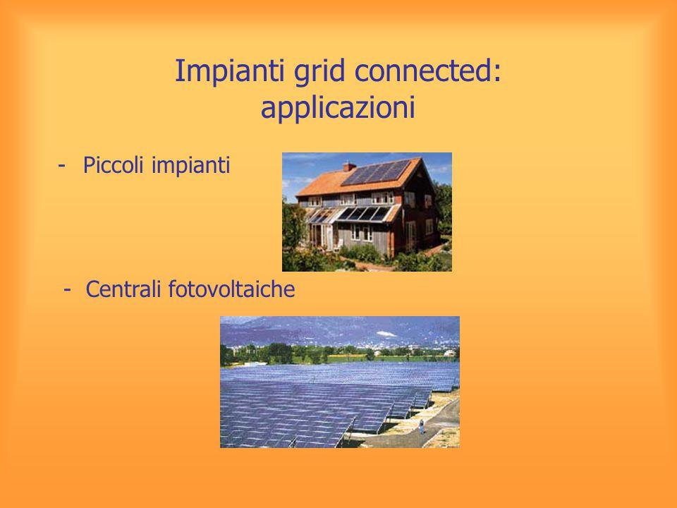 Impianti grid connected: applicazioni -Piccoli impianti - Centrali fotovoltaiche