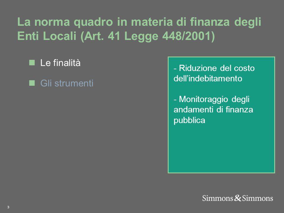 3 La norma quadro in materia di finanza degli Enti Locali (Art.